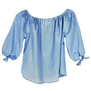 Love Notes Off Shoulder Blue Striped Top Small
